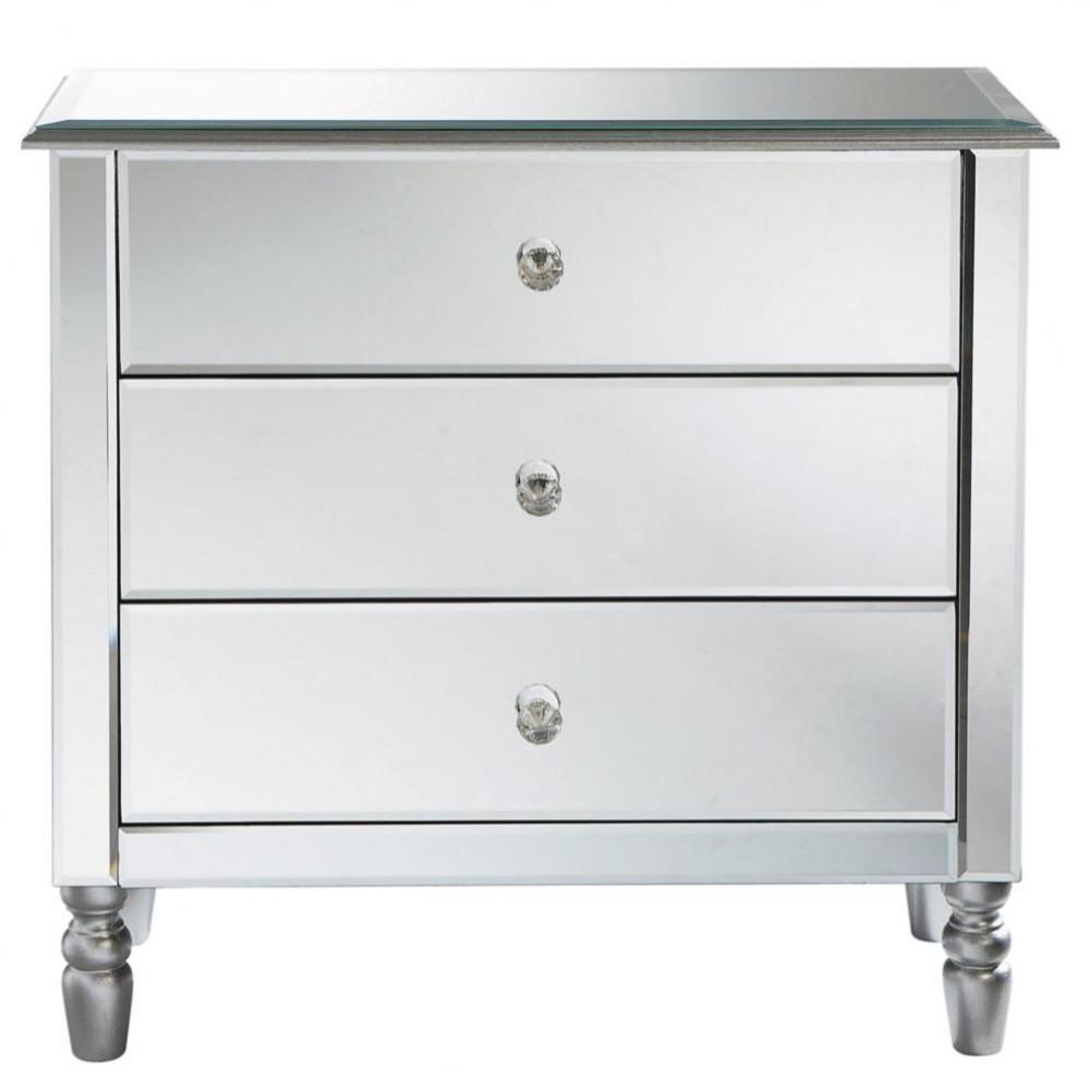 ... kaptafels en kastjes › Zilverkleurige houten ladekast B 80 cm MIROIR