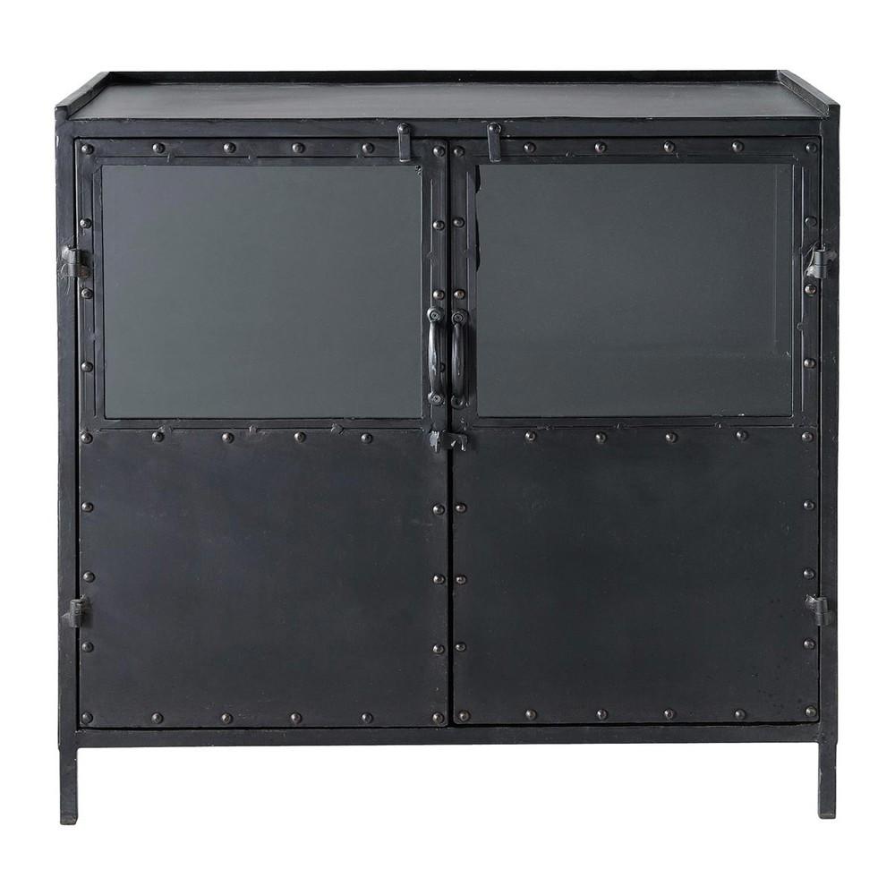 Zwart metalen industrieel dressoir met glas B 87 cm Edison   Maisons du Monde