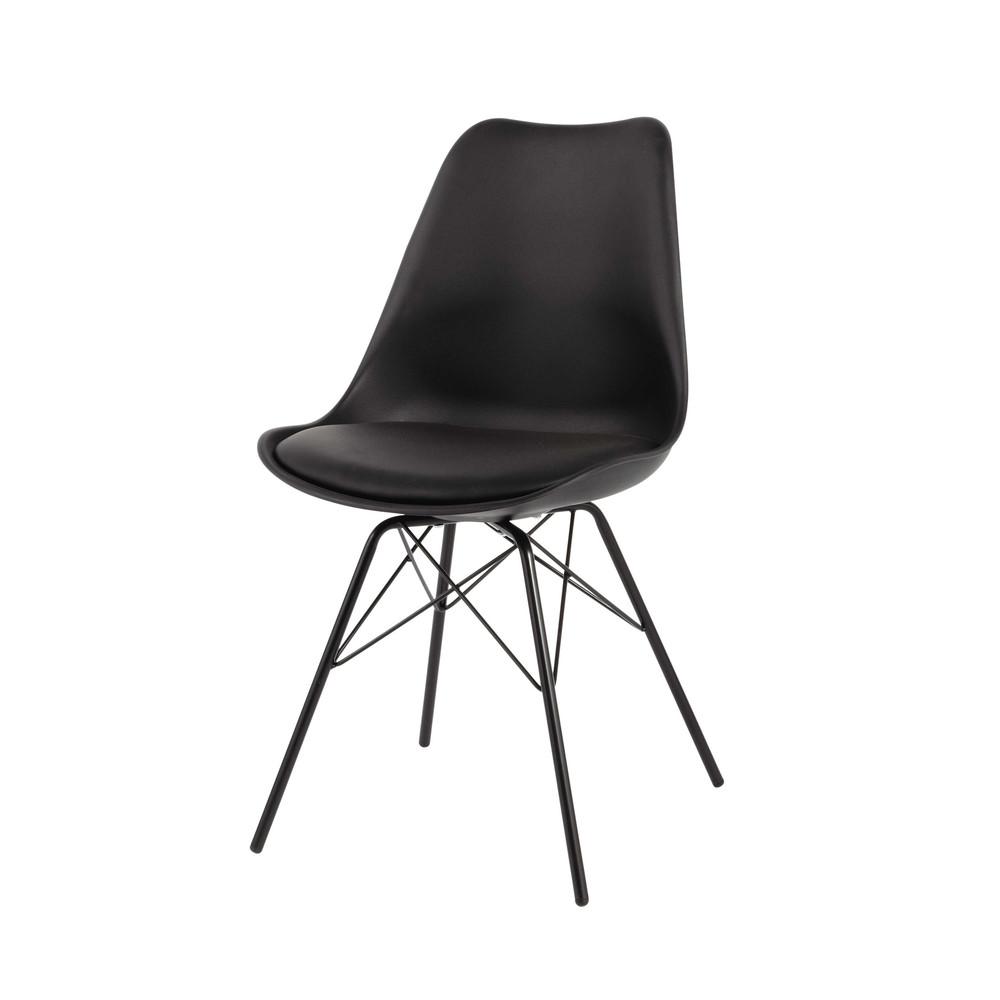 Zwarte metalen en polypropyleen stoel coventry maisons du monde - Hedendaagse stoelen eetkamer ...