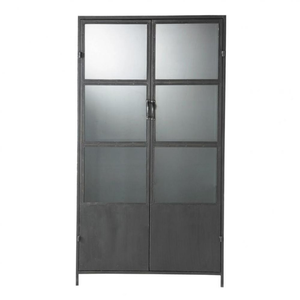 Zwarte metalen industri le vitrinekast b 100 cm edison for Industriele vitrinekast