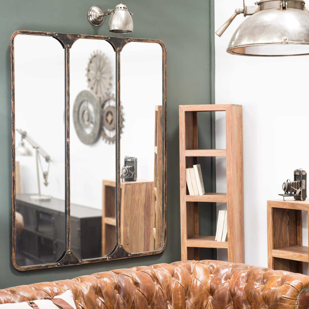 zwarte titouan metalen drieluik spiegel h 159 cm maisons du monde. Black Bedroom Furniture Sets. Home Design Ideas